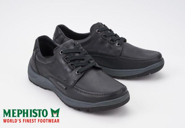 【全店點數15倍送】Mephisto 法國工藝皮革綁帶休閒鞋 黑 1