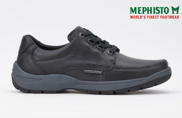 【全店點數15倍送】Mephisto 法國工藝皮革綁帶休閒鞋 黑 3