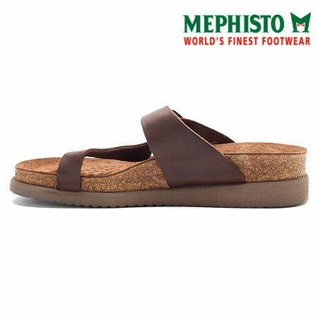 Mephisto 斜帶環扣式類勃肯涼拖鞋 咖啡 3