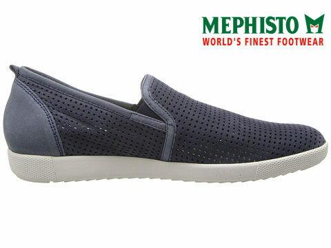 【全店點數15倍送】Mephisto 洞洞透氣皮革休閒懶人鞋 藍 3