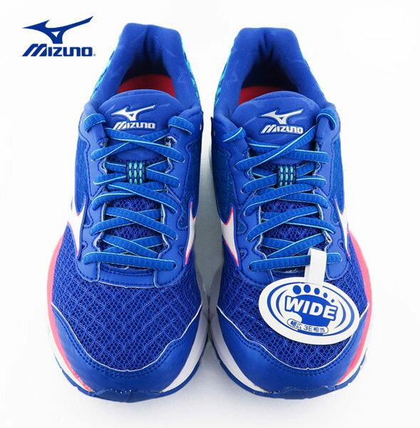 Mizuno RIDER 19 女慢跑鞋(寬楦) 藍 3