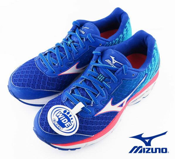 Mizuno RIDER 19 女慢跑鞋(寬楦) 藍 1