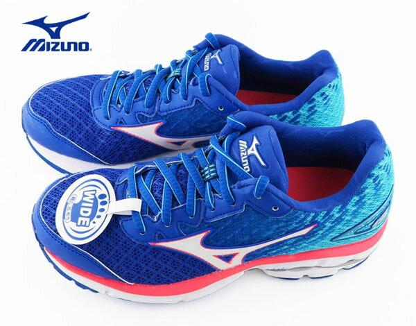 Mizuno RIDER 19 女慢跑鞋(寬楦) 藍 4