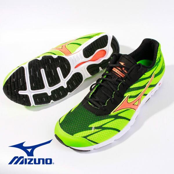 【MIZUNO 5折 │全店免運】MIZUNO  男路跑鞋 WAVE HITOGAMI 3 綠 2