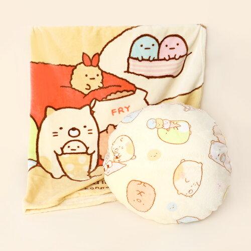 角落生物法蘭絨毯+麻糬抱枕組