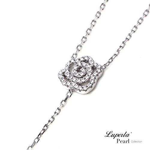 大東山珠寶 優雅白玫瑰 日本AKOYA天然海水珍珠純銀晶鑽項鍊 3