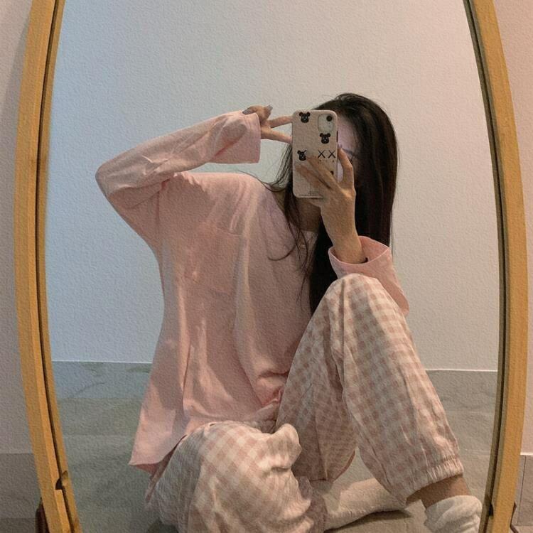 睡衣 韓國ins泫雅純棉長袖格子睡衣女春秋季網紅同款可外穿家居服套裝