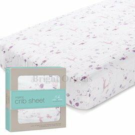 【淘氣寶寶】美國 Aden + Anais 有機棉嬰兒床床包/床單(粉紫童話款9186)1入組(公司貨)★英國喬治小王子御用包巾品牌