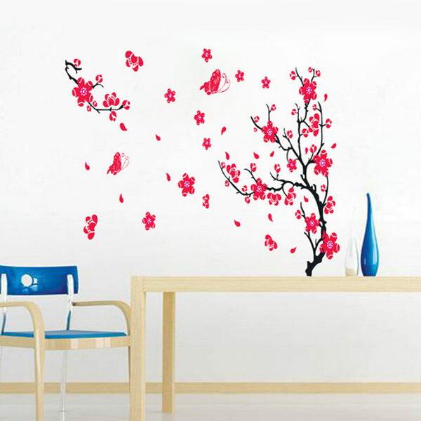 BO雜貨【YV4418】創意可移動壁貼 牆貼 壁貼 背景貼 時尚組合壁貼 紅梅花 新年 居家裝飾