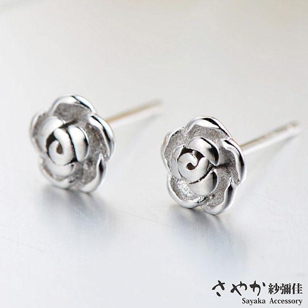【Sayaka紗彌佳】925純銀香謝玫瑰鑲鑽造型耳環
