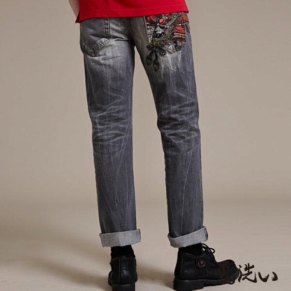 【均一價1580】武士鬼洗精繡低腰直筒褲-BLUEWAYONIARAI鬼洗