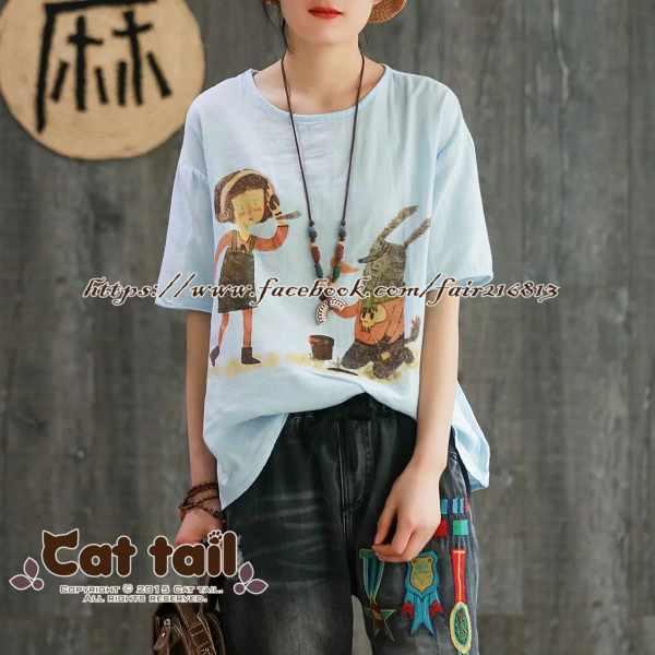 《貓尾巴》CH-01833童趣趣味印花短袖T恤(森林系日系棉麻文青清新)