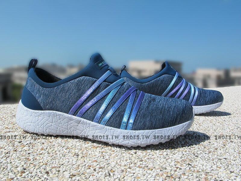 Shoestw【12741NVY】SKECHERS 健走鞋 Burst 記憶鞋墊 藍水洗 紫緞帶