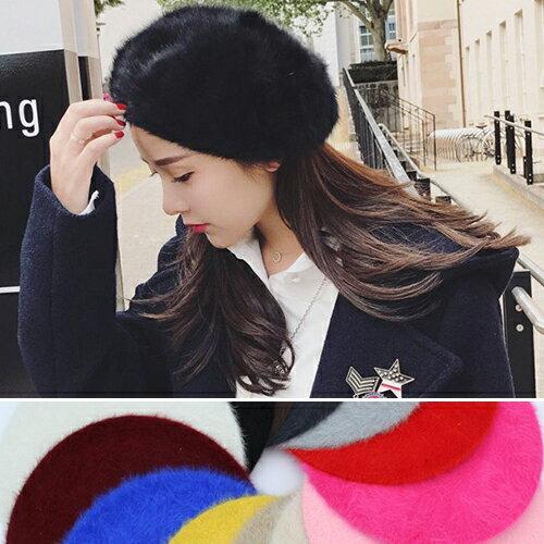 BOBI:貝雷帽素色兔毛保暖英倫帽畫家貝雷帽【QI1818】BOBI1102