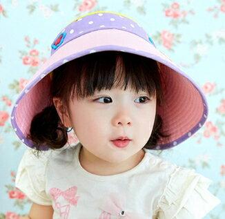 Lemonkid◆飛翔長頸鹿星星點點立體刺繡字母大帽沿透氣兒童空頂遮陽帽-粉紫色