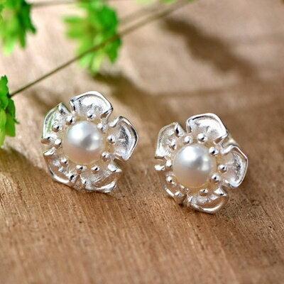 925純銀耳環珍珠耳針~復古 優雅牡丹花母親節情人節生日 女飾品73hl38~ ~~米蘭