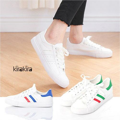 時尚皮革洞洞雙色斜條紋運動休閒鞋-預購