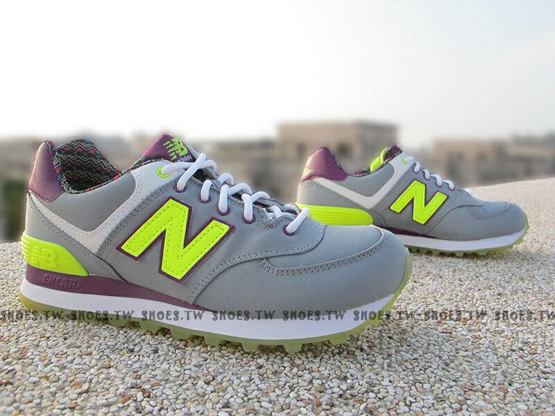 《超值1380》Shoestw【WL574SBF】NEW BALANCE NB574 復古慢跑鞋 灰螢光綠 紫 圖騰