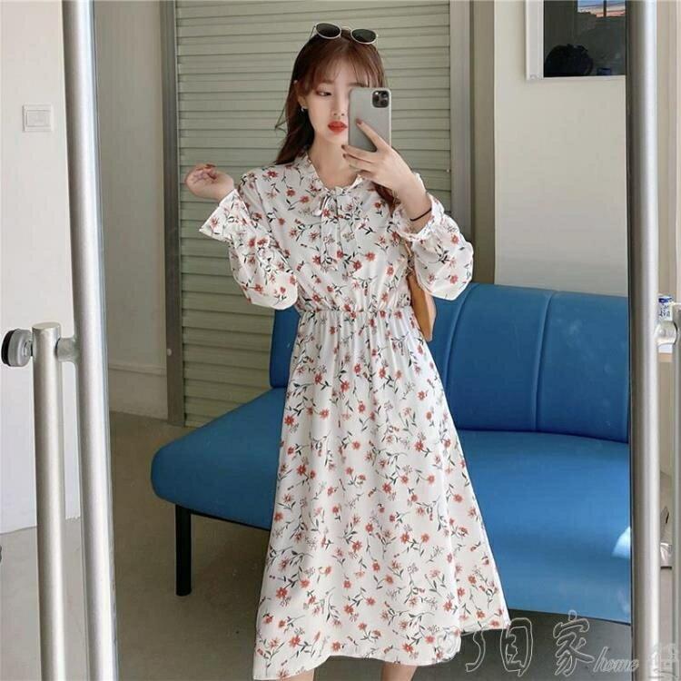 夏日新裝-碎花裙秋裝新款女韓版顯瘦小個子裙子心機設計感碎花雪紡洋裝女