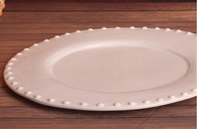 歐式白色現代浮雕立體小圓珠陶瓷果盤 水果盤 點心盤 零食盤