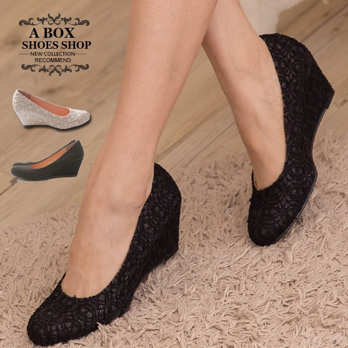 格子舖*【KTW245】MIT台灣製 韓版素面楔型舒適柔軟6CM包鞋 楔型鞋 4色現貨 0