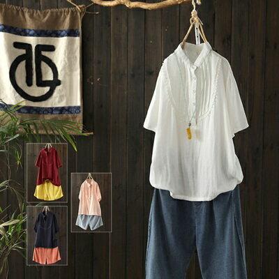 短袖T恤打底衫-清新褶皺花邊立領女上衣4色73sj70【獨家進口】【米蘭精品】