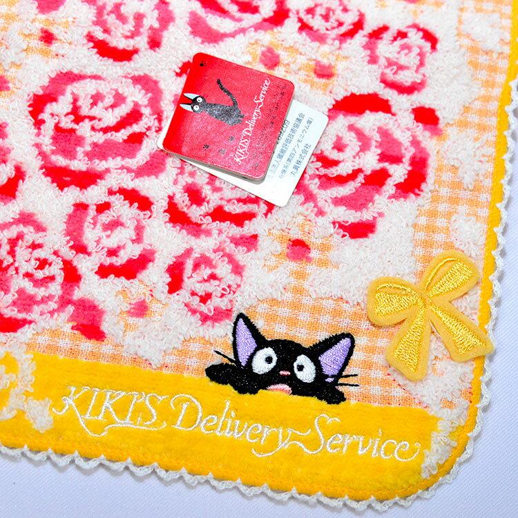魔女宅急便 KIKI 玫瑰模樣 純棉 立體方巾 毛巾 手帕 日本正版品 宮崎駿
