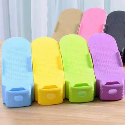 【一體式收納鞋架-25.8*10*5.5/13cm-4個/套-1套/組】塑膠雙層收納鞋架-7201001