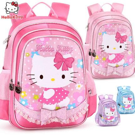 麻吉小舖:正版HelloKitty凱蒂貓凱蒂貓兒童小學生書包女童雙肩包1-4年級