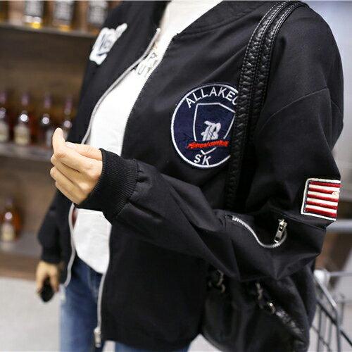 飛行外套 - 貼布徽章拉鍊開衫夾克外套 棒球外套 上衣【29208】藍色巴黎《2色》現貨+預購 2