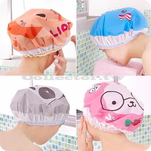 【E17030202】新款超萌可愛卡通洗澡浴帽 日式防水泡湯溫泉沐浴帽 洗頭帽 包頭巾