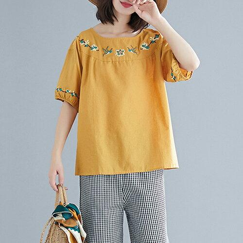 圓領刺繡棉麻大碼短袖T恤(5色L~XL)【OREAD】 0