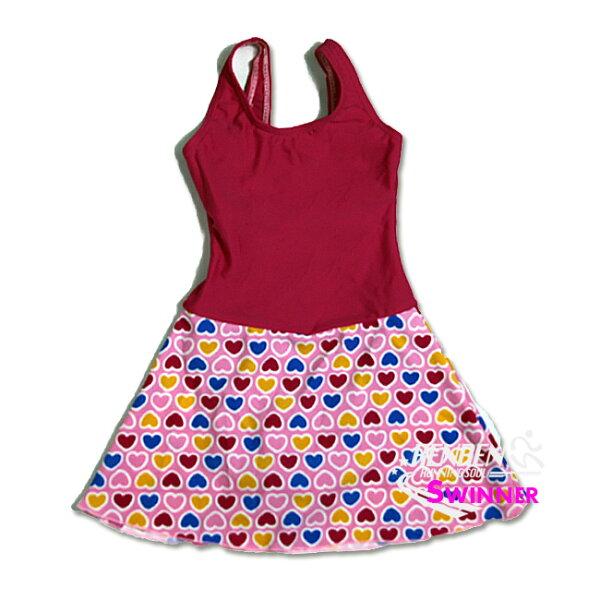 SWINNER女童泳衣(粉紅愛心)連身泳衣GL1346【胖媛的店】