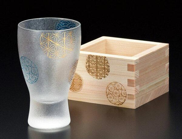 高級日本丸紋酒杯水杯玻璃杯附木盒日本製