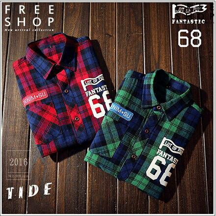 Free Shop:FreeShop情侶款韓版法蘭絨磨毛材質保暖刷毛68號工作風格襯格紋襯衫長袖襯衫有大尺碼【QTJCS66】
