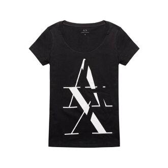 美國百分百【Armani Exchange】T恤 AX 短袖 大圓領 logo 上衣 T-shirt 黑色 女 I373