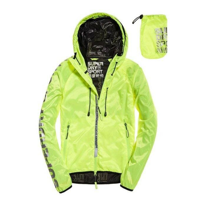 跩狗嚴選 極度乾燥 Superdry Core 女款 超輕薄夾克 輕便外套 防風 風衣 運動款 透氣 反光 螢光黃 防曬