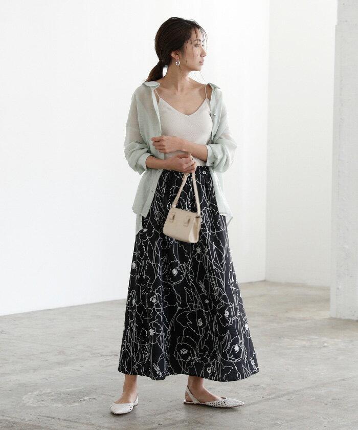 日本Titivate  /  滿版印花腰鬆緊雪紡長裙  /  avjr1100  /  日本必買 日本樂天直送(3590) /  件件含運 2