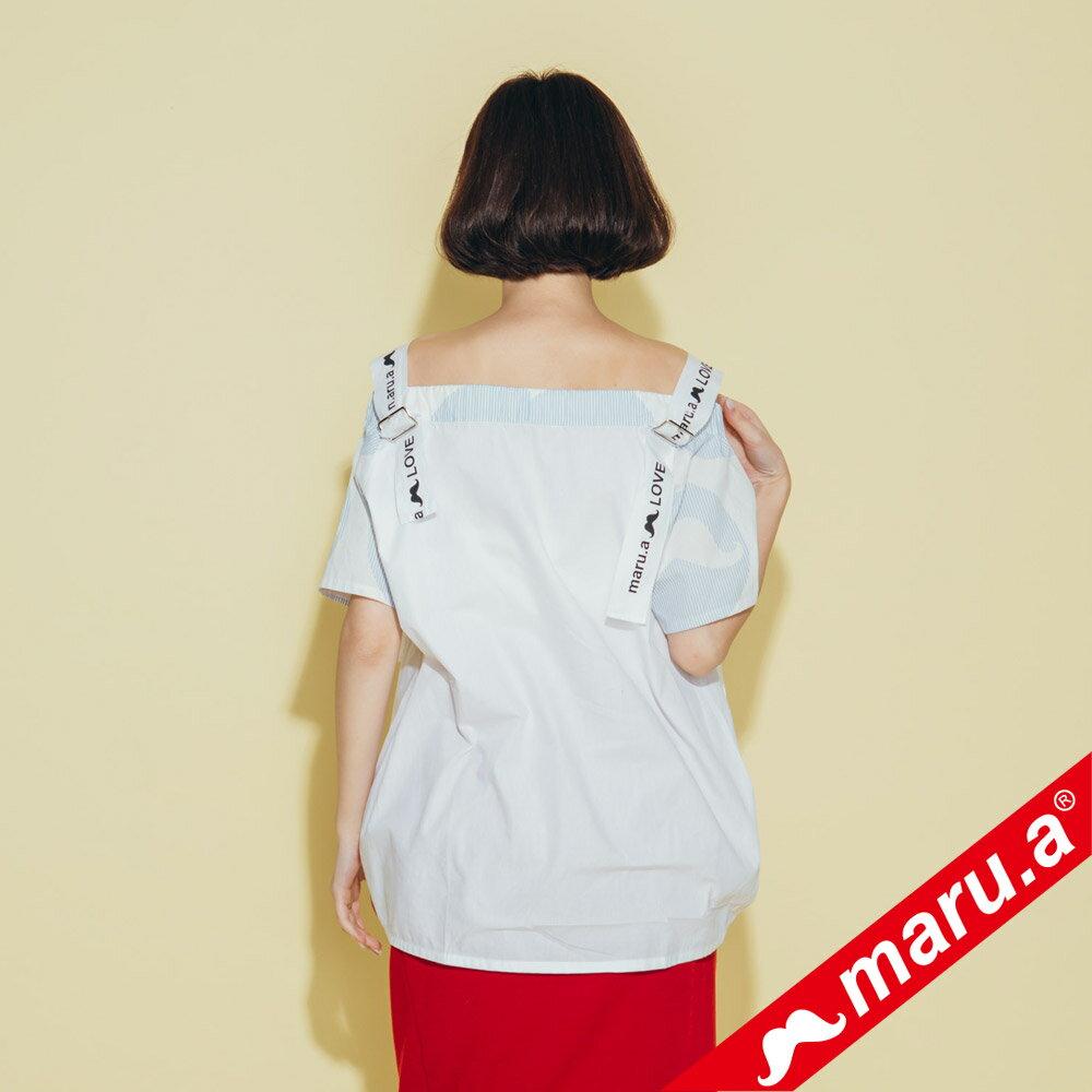 【maru.a】一字領超美織帶拼接上衣 8323117 5