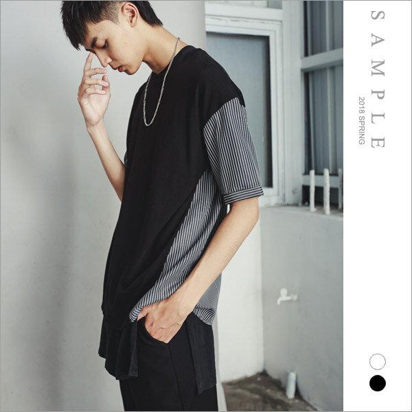 韓國製微寬短T後接直紋【TS20238】-SAMPLE