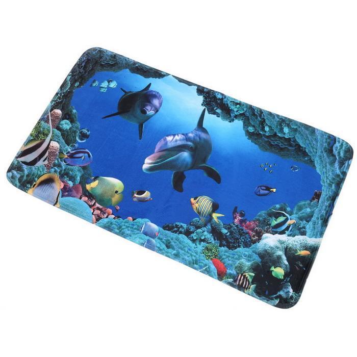 3Pcs/Set Bathroom Non-Slip Blue Shark Pedestal Rug Lid Toilet Cover Bath Mat 3