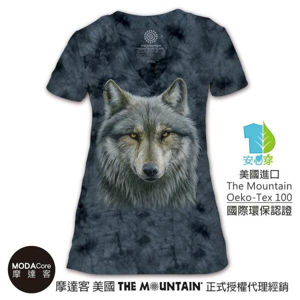 【摩達客】(預購)美國TheMountain都會系列勇戰之狼V領女版短T
