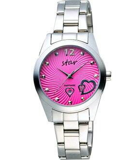 STAR時代錶 9T1603-161S-PE 愛戀心時尚腕錶/桃紅面32mm