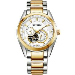 Rhythm 日本麗聲鐘時針 縷空日期顯示自動機械腕錶 (A1402S03) 金x銀 / 32mm