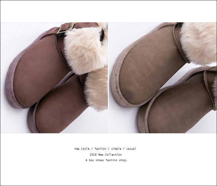 格子舖*【KDF6065】毛茸茸反摺百搭 防水皮革防滑膠底 寒冬絨毛溫暖內裡 短筒雪地靴 雪靴 3色 2