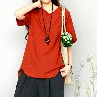 【現貨】棉麻文藝復古短袖T恤(3色M~2XL)*ORead*-OREAD-自由風格-女裝特惠商品