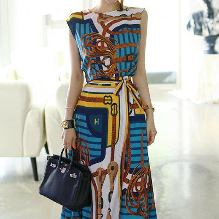 女裝2021新款韓版氣質兩件套時尚印花上衣收腰繫帶半身裙套裝