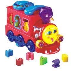 匯樂-Huile Toys 電動積木小火車  益智積木音樂電動火車