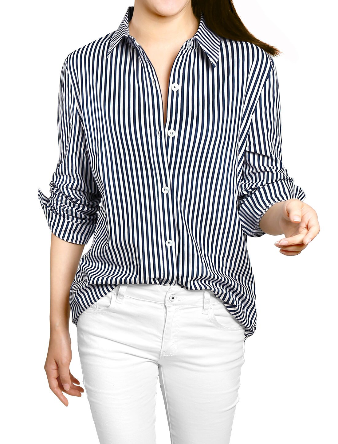 4f446742 Unique Bargains Women's Long Roll Up Sleeves Button Down Vertical Stripes Shirt  0