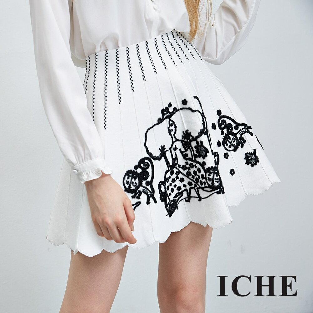 ICHE 衣哲 立體花邊飾刺繡傘擺造型裙